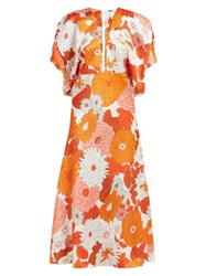 Dodo Bar Or Bernadette Floral Print Silk Jacquard Midi Dress Orange Multi