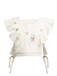 Zimmermann Heathers Floral Print Embroidered Crop Top White Multi