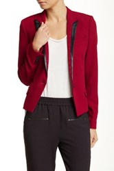 The Kooples Short Jacket With Leather Trim And Studs Red