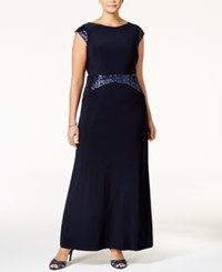 Betsy And Adam Plus Size Sequined Cowl Back Gown Navy