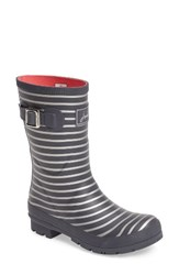 Joules Women's 'Molly' Rain Boot Grey Silver Stripe