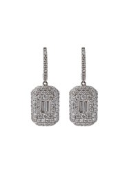 Shay Pave Baguette Diamond Drop Earrings Metallic