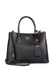 Prada Medium Saffiano Leather Double Bag Granato Black Red Granito Black Pink Cammeo Cannel