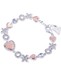 Guess Two Tone Crystal Xo And Heart Bracelet Two Tone