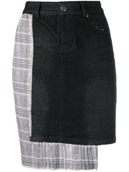 Each X Other Asymmetric Checked Skirt Black