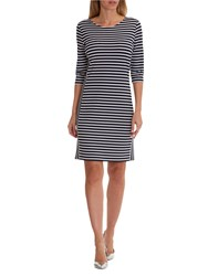 Betty Barclay Sporty Striped Dress Dark Blue White