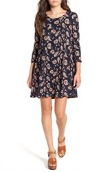 Lush Women's 'Leah' Floral Print Shift Dress Navy Coral Paisley