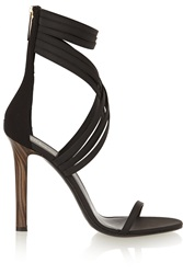 Tamara Mellon Boom Boom Leather And Scuba Sandals Black