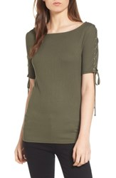 Trouve Women's Lace Up Sleeve Top Olive Sarma