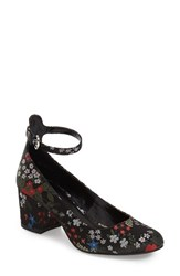 Women's Bp. Ankle Strap Block Heel Pump Black Multi Floral Satin