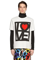 Love Moschino Printed Cotton Jersey T Shirt