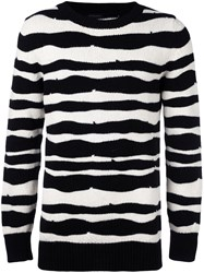 Ann Demeulemeester Grise Striped Crew Neck Jumper Black