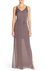 Women's Rory Beca 'Harlow' Belted Silk Georgette Deep V Back Gown