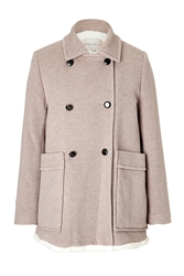 Paul And Joe Sister Wool Blend Coat With Shearling