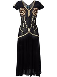 Jean Paul Gaultier Vintage Applique Sheer Dress Black