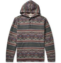 Faherty Pacific Organic Brushed Cotton Jacquard Hoodie Gray