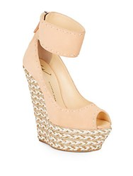 Giuseppe Zanotti Suede And Jute Peep Toe Platform Wedge Sandals Salmon