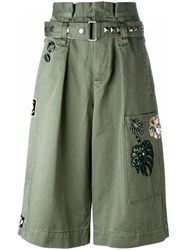 Marc Jacobs Embroidered Long Cargo Shorts Green