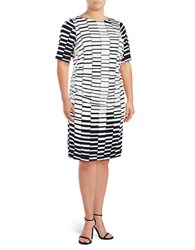Vince Camuto Plus Printed Sheath Dress Navy Ivory