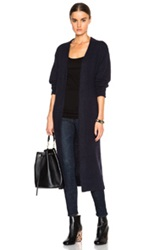 Nicholas Angora Long Cardigan In Blue