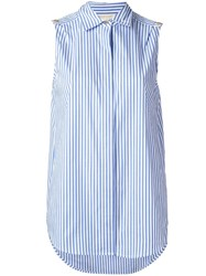 Michael Michael Kors Striped Sleeveless Shirt White