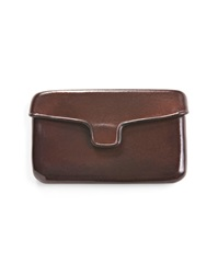 Il Busseto Brown Leather Business Card Holder With Magnetic Clasp
