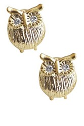 Rebecca Accessories 14K Yellow Gold Filled Sterling Silver Owl Cz Stud Earrings Metallic