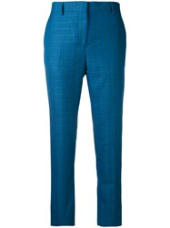 Paul Smith Cropped Trousers Women Silk Linen Flax Wool 38 Blue