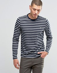 Farah Long Sleeve Top With Breton Stripe In Slim Fit Navy Grey