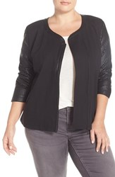 Plus Size Women's Tart 'Harley' Faux Leather And Ponte Collarless Jacket Black