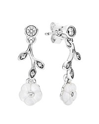 Pandora Design Pandora Drop Earrings Sterling Silver Cubic Zirconia And Mother Of Pearl Luminous Floral