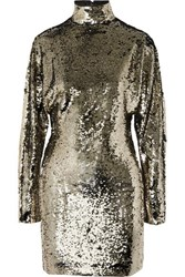Rta Ansel Sequined Voile Turtleneck Mini Dress Gold
