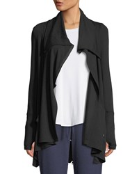 Terez Draped French Terry Zip Front Jacket Black Pattern