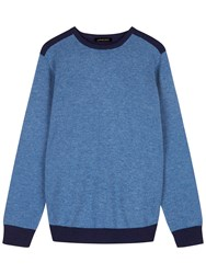 Jaeger Colour Block Lambswool Jumper Chambray