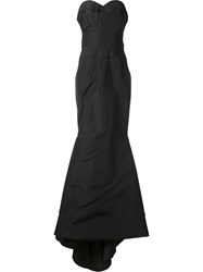 Zac Posen Back Drape Bustier Gown Black