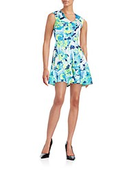 Saks Fifth Avenue Red Floral Print Fit And Flare Dress Blue Multi