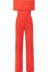 Lela Rose Off The Shoulder Wool Blend Cady Jumpsuit Coral