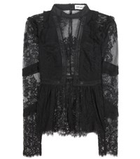 Self Portrait Elise Lace Top Black