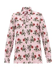 Valentino Rose And Slogan Print Silk Blouse Pink