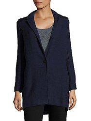 Maje Long Sleeve Knitted Coat Navy