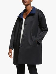 Eileen Fisher Stand Collar Coat Midnight Black