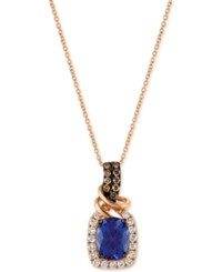 Le Vian Chocolatier Tanzanite 2 Ct. T.W. And Diamond 1 2 Ct. T.W. Necklace In 14K Rose Gold Yellow Gold