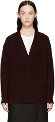 3.1 Phillip Lim Burgundy Frayed Knit Cardigan