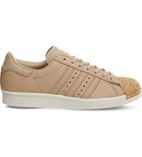 Adidas Superstar 80S Leather Trainers Pale Nude Cork Toe
