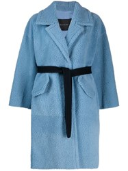 Blancha Belted Shearling Coat Blue