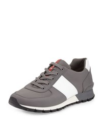 Prada Leather And Nylon Running Sneaker Gray