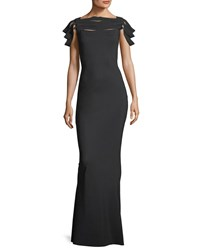 La Petite Robe Di Chiara Boni Stana High Neck Fitted Evening Gown Black White