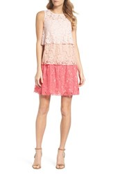 Taylor Dresses Sleeveless Tiered Lace Dress Blush Coral