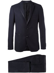 Tagliatore Contrast Trim Dinner Jacket Blue