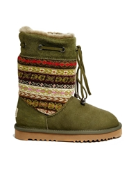 Love From Australia Patterned Short Leather Boots Olive